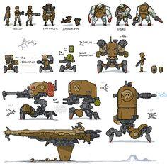 kawaiik engineered thumbnails Spaceship Art, Spaceship Design, Spaceship Concept, Robot Concept Art, Weapon Concept Art, Game Design, Game Character Design, Robot Design, Character Concept