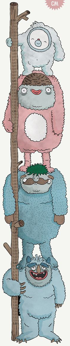 Height Chart  CM The Yeti Family  Height Chart Wall by mikimottes, $44.99