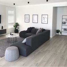 Regram from / grey tones for the win! 🤩Impressive Ultra in soft grey oak light is perfect base for your home. Classy Living Room, Living Room Decor Cozy, Living Room Grey, Living Room Interior, Home Living Room, Modern Small Living Room, Home Room Design, Home Interior Design, Living Room Designs