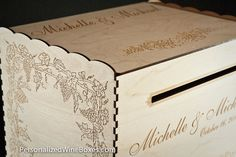 Personalized wine box wedding card box. $99.00 including shipping.