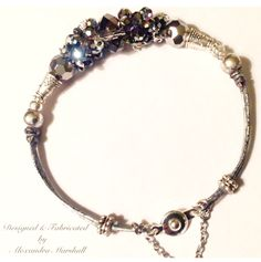 """We love this hand gilded silver leather and Swarovski Crystal bracelet by Alexandra Marshall. 6 1/2"""" long with safety chain. $59. Double click photo to order."""