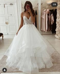 White tulle lace long prom gown formal gown, Customized service and Rush order are available Cute Prom Dresses, Cute Wedding Dress, Dream Wedding Dresses, Pretty Dresses, Bridal Dresses, Ruffled Wedding Dresses, Gown Wedding, Princess Style Wedding Dresses, Disney Wedding Dresses