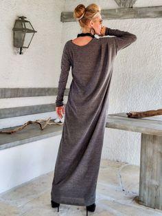 Brown Winter Wool Maxi Dress Kaftan /  Winter Warm Long Dress / Plus Size Dress / Oversize Loose Dress / #35158