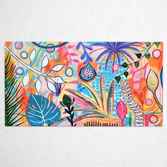 BOTANICALS IN BLOOM, 1890 x 1030 mm Colorful Paintings, Contemporary Paintings, Native Australians, Vibrant Colors, Colours, Acrylic Canvas, Flourishes, Stretched Canvas, Gold Foil