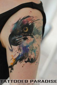 Body Art | Tattoo | 刺青 | Tatouage | Tatuaggio | татуировка | Tatuaje | watercolor eagle by dopeindulgence