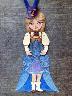 Miss Maddy Hatter Canvas Ornament by Ornamenture on Etsy, $30.00