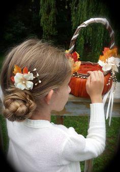 Fall Wedding Maple leaf flower girl hair piece by TellableDesign, $12.99