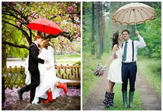 Rainy wedding day, buy rainboots and umbrella for cute pics if it rains!