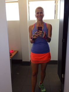 I am excited to announce that after a long winter of wearing 3/4 tights and not shaving my legs everyday that I got my pins out for a gym session today. Yippee. I was also excited to have some colour back into my life!!  #g_loves #gym #gymgloves #gymfashion #lululemon #skort #orange #purple #pink #zebra #winter #summer