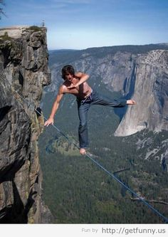 Dean Potter's most recent solo walk at Taft Point in Yosemite by Photographer Jeff Cunningham.