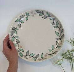 Large Serving Platter - Branches + Dots Pattern, by krystalspeck on Etsy