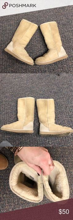 UGGS tall sand boots size 9 Some stains/marks. Have been pretreated. Some other signs of wear. UGG Shoes Winter & Rain Boots