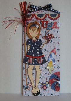Prima Paper Dolls, Prima Doll Stamps, 4th Of July Fireworks, Fourth Of July, Hand Made Greeting Cards, Scrapbook Paper Crafts, Scrapbooking Ideas, Paper Tags, Doll Crafts