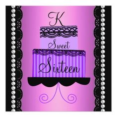 Pink And Purple Lace Sweet Sixteen Invitation Themes Invitations