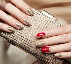 Red and gold party nails #nails #holidays #beautyinthebag