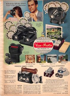 1952 ad for View Master camera & accessories.  No matter what tourist trap you went to, they had View Master reels to purchase.