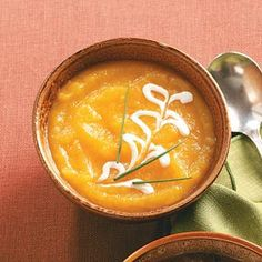 Creamy Butternut Soup Recipe from Taste of Home -- shared by Amanda Smith of Cincinnati, Ohio