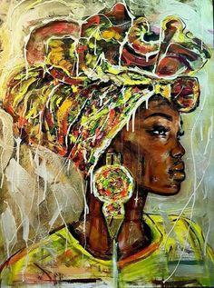 African Wall Art, African Art Paintings, Black Love Art, Black Girl Art, Black Art Painting, Woman Painting, African Colors, African Style, African Girl