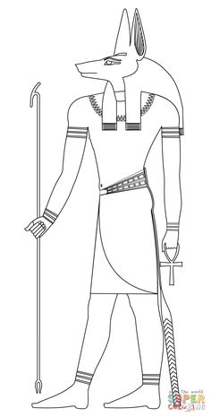 Anubis coloring page from Egyptian Mythology category. Select from 31983 printable crafts of cartoons, nature, animals, Bible and many more. Egyptian Mythology, Egyptian Symbols, Egyptian Art, Egyptian Drawings, Egyptian Tattoo, Anubis Drawing, Ancient Egypt Art, Free Printable Coloring Pages, Colorful Pictures