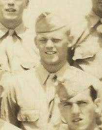PFC William T. McGonigal, Company E, 2nd Battalion, 506th Infantry Regiment, 101st Airborne Division. Flew to Normandy on D-Day in a plane with the rest of the HQ men. The plane was hit with antiaircraft near the drop zone. Bullets came through the plane's undersides and threw sparks out the top. The plane exploded, killing everybody on board.