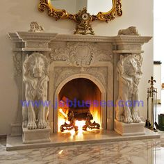 Marble Lion Fireplace Mantel for Switzerland Antique Fireplace Mantels, Marble Fireplace Mantel, Fireplace Remodel, Marble Fireplaces, Fireplace Ideas, Cast Stone Fireplace, Animal Anatomy, Fire Doors, Angel Pictures