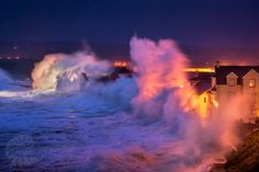 Giant waves batter the coast of the Lahinch Promenade At Dawn - George Karbus Giant Waves, Huge Waves, Hurricane Storm, Ireland Country, Clare Ireland, Powerful Pictures, Scenery Pictures, Ireland Landscape, Rest Of The World