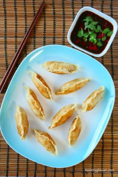 """Potstickers are a type of Chinese dumpling called """"jiaozi"""" in Mandarin. Chinese has been consuming jiaozi since the Song dynasty – 1280 A. Gluten Free Dumplings, Steamed Dumplings, Appetizer Recipes, Appetizers, Dinner Recipes, Cooking Chinese Food, Gluten Free Chinese Food, Chicken Spring Rolls, Asian Recipes"""