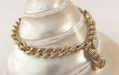 Praying Hands Charm Bracelet Gold tone Small by TallulahsVintage, $12.00