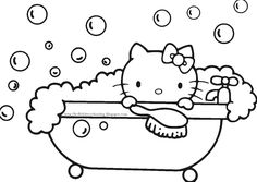 bubble bath hello kitty coloring pages printable and coloring book to print for free. Find more coloring pages online for kids and adults of bubble bath hello kitty coloring pages to print. Hello Kitty Colouring Pages, Cat Coloring Page, Cartoon Coloring Pages, Coloring Pages To Print, Free Printable Coloring Pages, Coloring Book Pages, Coloring Pages For Kids, Kids Coloring, Images Hello Kitty