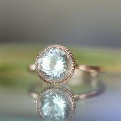 Aquamarine 14K Gold Engagement Ring, Gemstone Ring, Stacking RIng, Protuguese Cut  - Made To Order