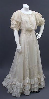 ca. 1907 Edwardian Lawn Dress with ruffles & lace insertion available now @ www.pastperfectvintage.com