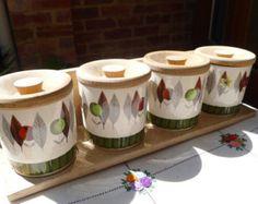 vintage spice jars in rack.