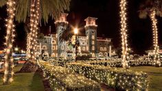 Historic buildings throughout St. Augustine are a perfect frame for holiday lights.