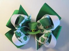 St Patrick's Hair Bow Double Boutique Hair Bow by preciouscurls