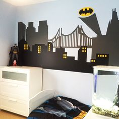 My BatmanGotham City Wall Mural Home Is Where The Heart Is - Superhero wall decals for kids roomssuperhero wall decal etsy