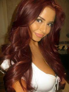Demi Rose Mawby- deep cherry red hair