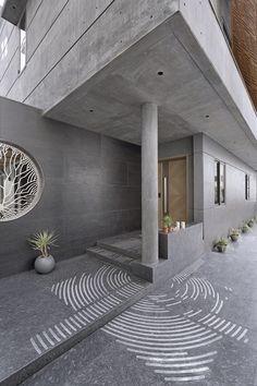 Foyer Design, Entrance Design, Facade Design, House Design, Concrete Architecture, Interior Architecture, Minimal Architecture, Residential Architecture, Modern Color Schemes