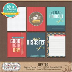 New 'Do Pocket Cardsfrom Peppermint Creative - Hair Cut Theme #barber #projectlife #lifeinpictures
