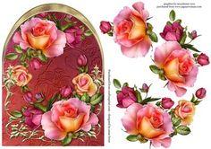 Gyönyörű Peach Roses Íves Topper + Decoupage - CUP407244_1763 | Craftsuprint