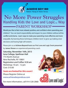 Love and Logic Parent Workshop Nov 16th at Iona College, Spellman Hall 9:30 am - 12:00 pm