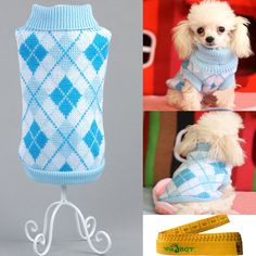 Gentle Knitted Turtleneck Chic Argyle Pet Sweater Knitwear for Dogs and Cats -- Learn more by visiting the image link.