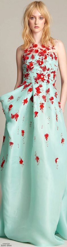 The dress might be a bit light but the poppy red flowers add a pop of colour. Monique Lhuillier Pre-Fall 2016