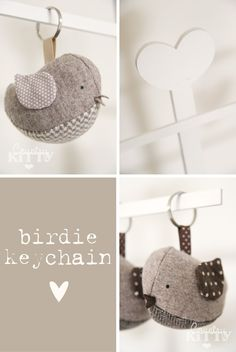 Countrykitty: The birds keychains invasion! Sewing Crafts, Sewing Projects, Projects To Try, Bird Patterns, Sewing Patterns, Techniques Couture, Color Crafts, Fabric Birds, Felt Crafts
