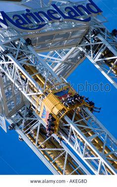 Stock Photo - Sky Screamer drop tower Niagara Falls Canada worlds highest triple tower ride