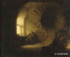 《명상 중인 철학자》는 루브르박물관에 소장되어 있는 많은 수의 다른 네덜란드 회화들과 함께 루이 16세의 통치시대에 구입된 작품이다. 이 그림은 《책을 읽고 있는 철학자(Philosophe au livre ouvert)》라는 제목으로 알려진 비슷한 크기와 주제의 그림과 함께 구입되었기 때문에 하르멘츠 반 레인 렘브란트가 그린 한 세트의 작품이라고 여겨졌으나, 현대에 이루어진 조사에서 《책을 읽고 있는 철학자》는 렘브란트파의 화가, 살로몬 코닝크의 작품으로 확인되었다.     이 작품은 렘브란트의 레이덴(Leiden) 시기에 그려진 후기 양식의 작품들이 지닌 모든 특징을 보여준다. 섬세한 세부 묘사, 정확하고 깔끔한 빛의 효과, 매끈한 마감 처리, 정성을 기울인 깊이감 있는 투시도법 등이 그 특징으로, 이는 렘브란트의 암스테르담 초기 양식과도 연결이 된다.