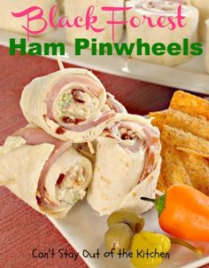 Black Forest Ham Pinwheels - fantastic #ham and #cheese #appetizer with an amazing cream cheese sauce. Great for #tailgating parties - via Can't Stay Out of the Kitchen