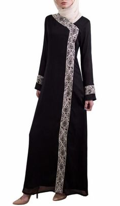 Nakhl Black Embroidered Modest Long Sleeve Formal Abaya Maxi Dress Gown for Batik Fashion, Abaya Fashion, Fashion Dresses, Women's Fashion, Modest Maxi Dress, Dress Up, Maxi Dresses, Baby Dress, Islamic Fashion
