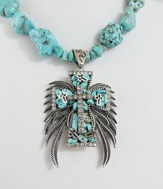 Cowgirl Bling Necklace set Gypsy TURQUOISE nuggets CROSS Rhinestones Western #Unbranded
