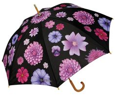 Purple Multi Flower Cane Umbrella