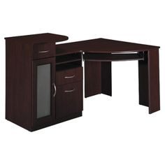 Corner Desk I have to say design wise its blah . However it would function well as we could put a toddler lock on the door. Corner desk idea for hubby . He likes simple clean , modern design , he may like this .